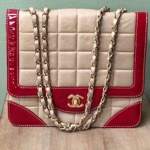 CHANEL Rare Vintage BiColor Calfskin Flap Bag